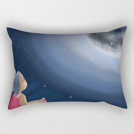 Little girl on the cliff Rectangular Pillow
