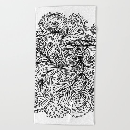 B&W Floral Indian Pattern Beach Towel