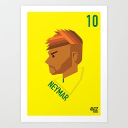 Neymar Jr Brazil Football Star Illustration Art Print