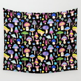 Colorful Mushroom Watercolor on Black Wall Tapestry