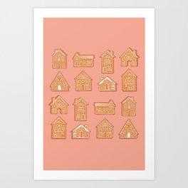 Tiny Houses - Peach Brown Beige Art Print