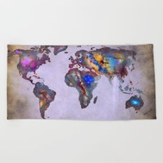 Stars world map. Space. Beach Towel