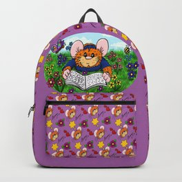 Hammy reading in a meadow (dark purple/pink) Backpack