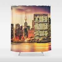 new york city Shower Curtains featuring New York City Skyline by Vivienne Gucwa