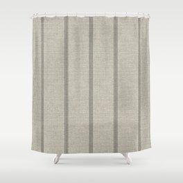 Farmhouse Linen Grey Rustic Grain Sack Texture Vintage Lined Design Modern Shower Curtain