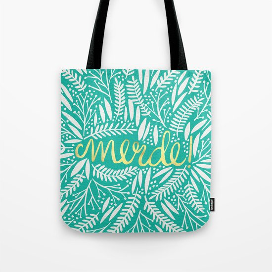 Pardon My French – Gold on Turquoise Tote Bag
