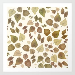 Abstract hand painted green brown watercolor fall leaves Art Print