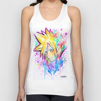 playstation Tank Tops featuring Original - CLOUD STRIFE - Watercolor Painting - Playstation by Jonny Clingan
