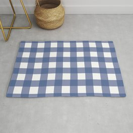 Blue and White Gingham Pattern Rug