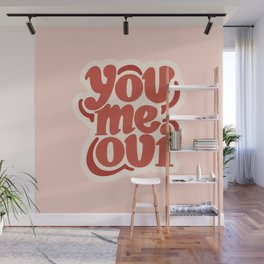 You Me Oui Pink/Red Hand Drawn Wall Mural