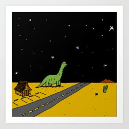 Roadside Dinosaur Art Print