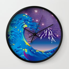 Hokusai Great Wave & Mt. Fuji under the Stars Wall Clock