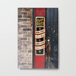 Open Daily Sign at a Pub Metal Print