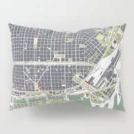 Buenos aires city map engraving Pillow Sham