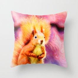squirrel digital oil paint dopstd Throw Pillow