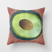 avocado Throw Pillows featuring Avocado by Red Coat Studio Design
