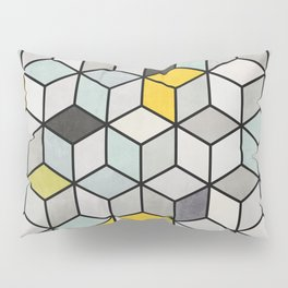 Colorful Concrete Cubes - Yellow, Blue, Grey Pillow Sham