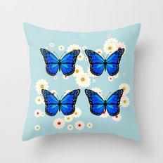 Four blue butterflies Throw Pillow