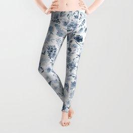 Watercolor florals in blue Leggings