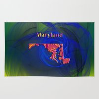 maryland Area & Throw Rugs featuring Maryland Map by Roger Wedegis