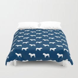English Bulldog pattern navy and white minimal modern dog art bulldogs silhouette Duvet Cover