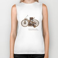 mercedes Biker Tanks featuring Daimler Riding Car, 1885. The world's first motorbike. by Marijan Zubak