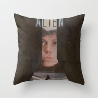 alien Throw Pillows featuring Alien by JAGraphic