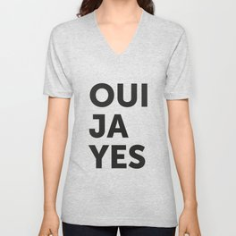 Oui, Ja, Yes Unisex V-Neck