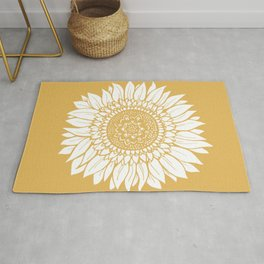 Yellow Sunflower Drawing Rug