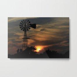 Kansas Windmill Silhouette Sunset Metal Print