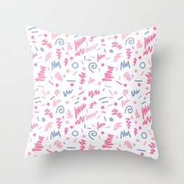 Trendy minimal bright nursery pattern squiggle zig zag polka dots swirl pattern Throw Pillow