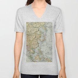 China, Russia, Japan Vintage Map Unisex V-Neck