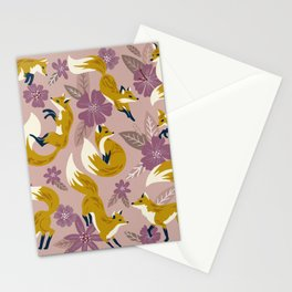 Foxes & Blooms – Lavender Palette Stationery Cards