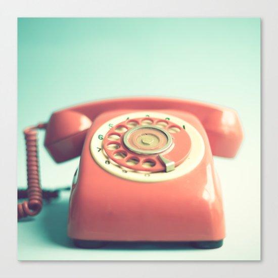 Pink Retro Telephone on Mint  Canvas Print