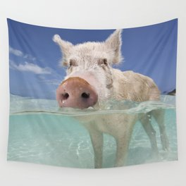 Swimming Pig Wall Tapestry