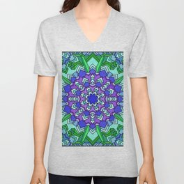 Kaleidoscope of Cool Colors Unisex V-Neck