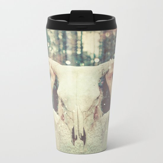 Bull Skull Tribal Woman Metal Travel Mug