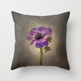 Graceful flower - Anemone coronaria | vintage style gold Throw Pillow
