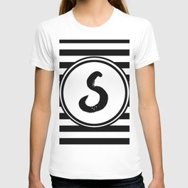 S Striped Monogram Letter T-shirt