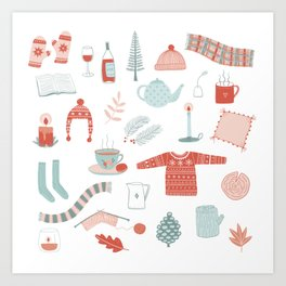 Hygge Cosy Things Art Print