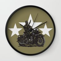 military Wall Clocks featuring Military Harley by Ernie Young
