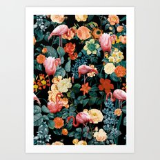 Floral and Flemingo II Pattern Art Print