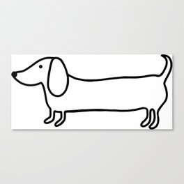 Simple dachshund black drawing Canvas Print