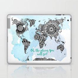 World Map Print - Adventurer Gift - Travel Art - World Map Poster Laptop & iPad Skin