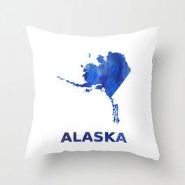 Alaska map watercolor Throw Pillow