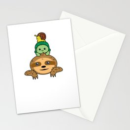 Sloth turtle snail Take it slow Stationery Cards