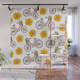 Sunflowers and Bikes! Wall Mural