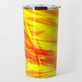 Gold and smooth sparkling lines of orange ribbons on the theme of space and abstraction. Travel Mug