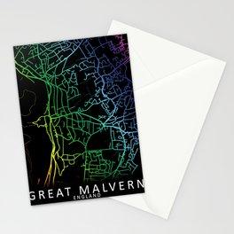 Great Malvern, England, City, Map, Rainbow, Map, Art, Print Stationery Cards