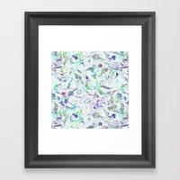 Marbled in blues Framed Art Print